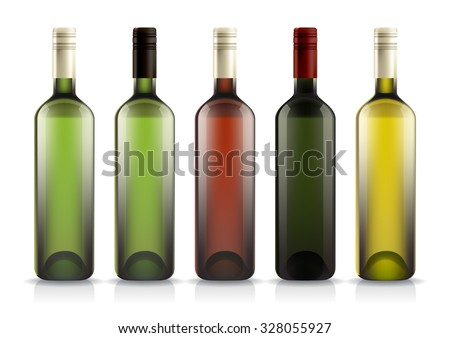set of wine or liquor bottles