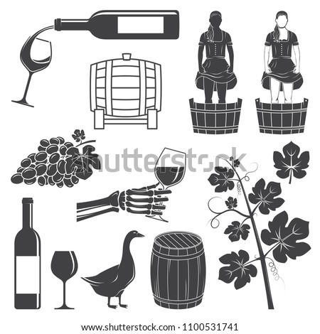 Set of Wine silhouette icons. Set include girl stomping, crushing grapes, barrel, goose, grape with leaf, branch and bottle, glass of wine. Icons for winery company business. Vector illustration.