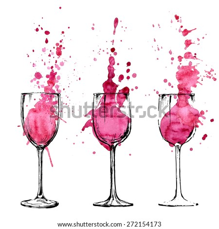 Set of wineglasses with splashes of wine, pouring inside. Art wine expressive splashes in hand drawn glasses, vector collection isolated on white. Red wine vector artistic watercolor illustration