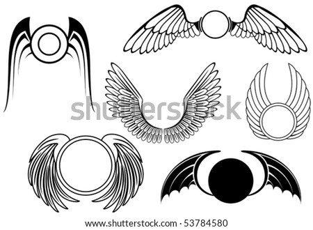 Set of wing heraldry symbols or logo template. Jpeg version also available in gallery