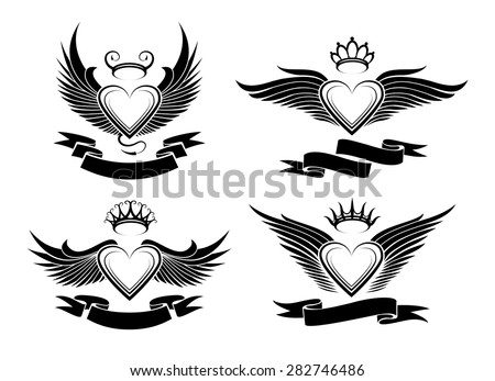 set of winged hearts in tribal