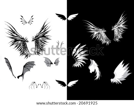 stock vector : Set of wings - dark wings, angel wings, demon wings,