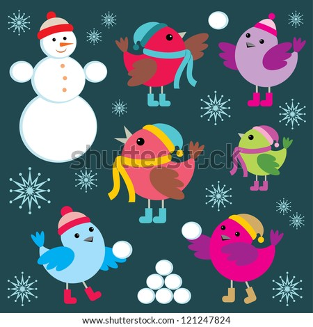 Set of winter birds and snow man. vector