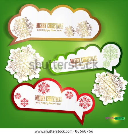 Set of winter bubbles, stickers, labels, tags. Vector  illustration