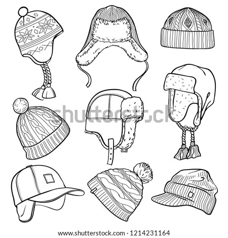 82edd3cc218 Set of 9 winter caps and hats sketches  baseball cap