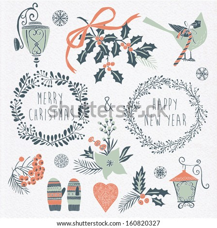 Set of Winter Christmas icons, elements and illustrations