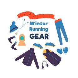 Set of winter clothes. Winter running gear