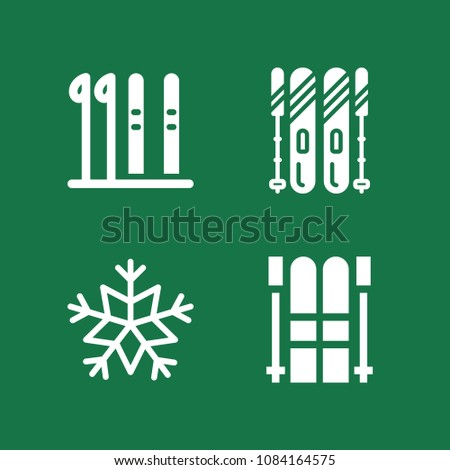 set of 4 winter filled icons
