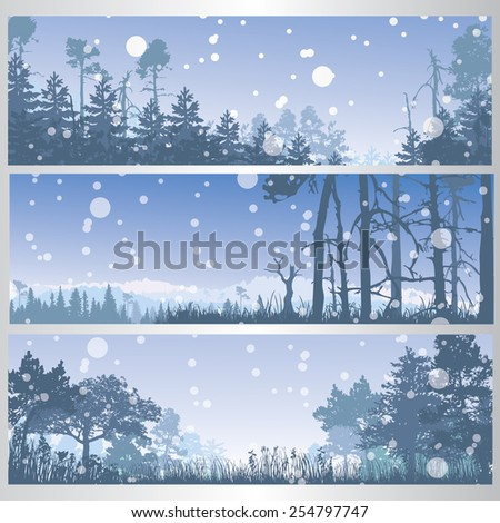 set of winter forest banners