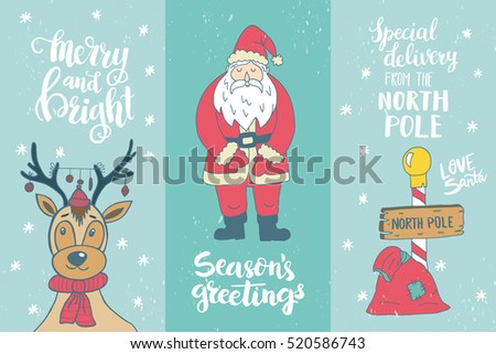 Set of winter hand drawn phrases and Christmas card template. Perfect brush typography for cards, poster, t-shirt, invitations and other types of holiday design. Vector.