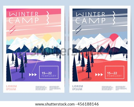 Set of winter hiking camp, traveling poster or flyer. Vector snow background for mountain skiing, recreation or sport activity