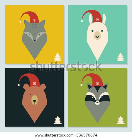 set of winter holidays cards