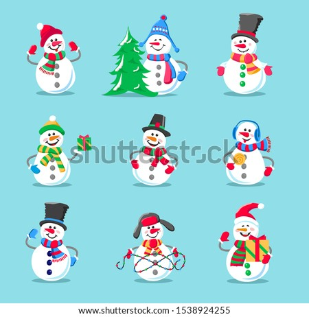 Set of winter holidays snowman. Cheerful snowman in different costumes. Snowman with candy and gifts. Vintage Christmas poster design with snowman.