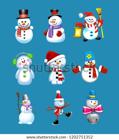 Set of winter holidays snowman. Cheerful snowmen in different costumes. Snowman chef, magician, snowman with candy and gifts. Vintage Christmas poster design with snowman, reindeer characters.