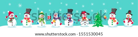 Set of winter holidays snowman. Cheerful snowmen in different costumes. Snowman with candy and gifts. Horizontal seamless pattern with snowmen.