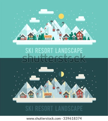 set of winter landscapes ski