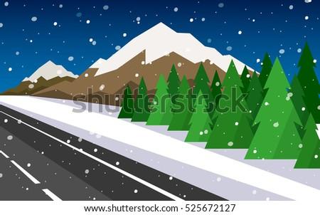 set of winter landscapes