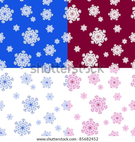 Set of winter seamless patterns with snowflakes. Vector illustration.
