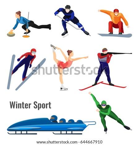 Set of winter sport activities vector illustration isolated on white