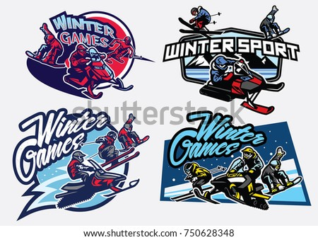 Set of winter sport games badge