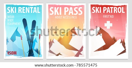 set of winter sport posters