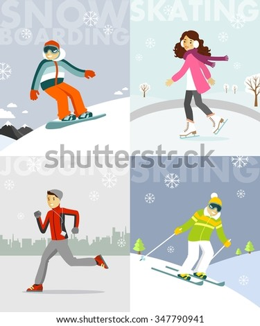 set of winter sports and
