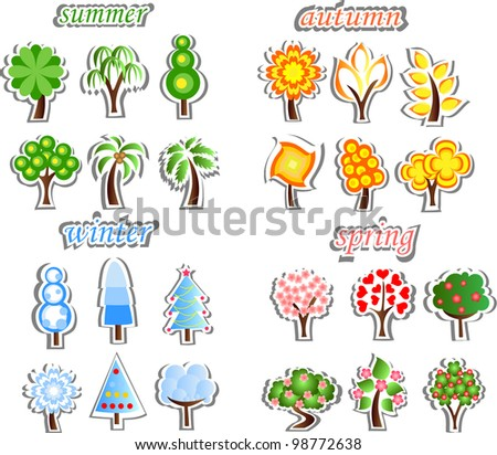 Set of winter, spring, autumn, summer trees, the vector