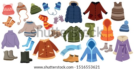 Set of winter things. Collection of warm clothes for the whole family. Cartoon jackets, hats and scarf. Color illustration of a drawing for children. Сток-фото ©