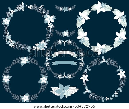 set of winter wreaths and