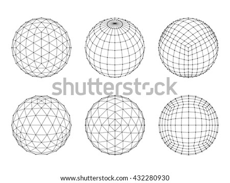 Set of Wireframe mesh spheres. Network line, HUD design sphere. Vector Illustration EPS10