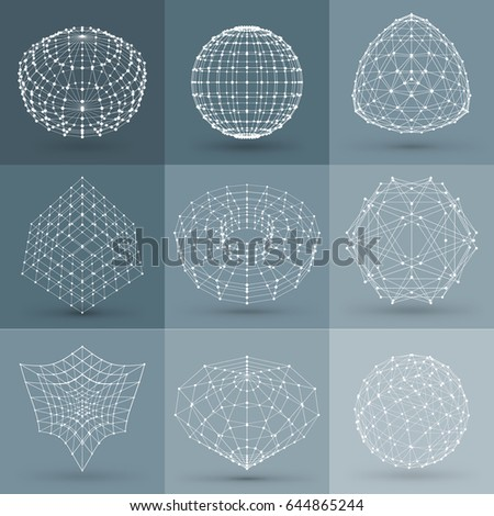 Set of wireframe polygonal elements. Abstract geometric 3D objects with connected lines and dots. Set of vector illustrations on dark grey background