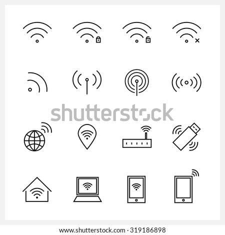 Set of Wireless and wifi icons