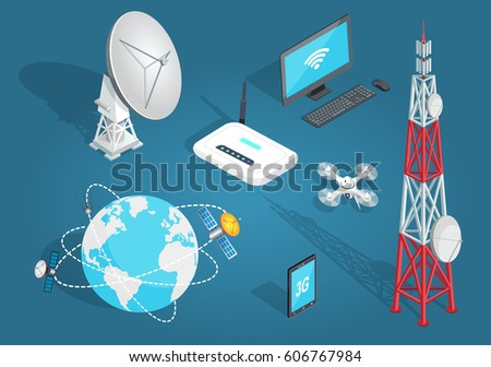 Set of wireless connection on blue background. Vector illustration of satellites around planet, tower with dishes, white drone, laptop with wi-fi, smartphone with 3G, white dish antenna, wi-fi router.