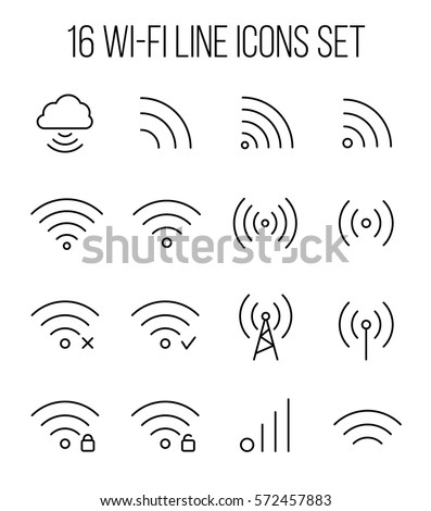 Set of wireless icons in modern thin line style. High quality black outline wifi symbols for web site design and mobile apps. Simple wi-fi pictograms on a white background. Сток-фото ©