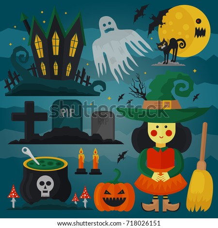 Set of witch, cat, zombie, pumpkin and other different spooky decorations and elements for Halloween. Vector horror card.