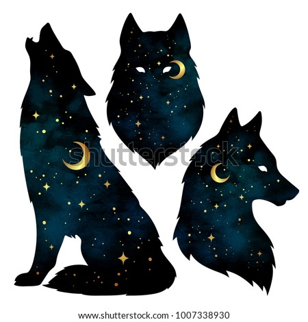 Set of wolf silhouettes with crescent moon and stars isolated. Sticker, print or tattoo design vector illustration. Pagan totem, wiccan familiar spirit art.
