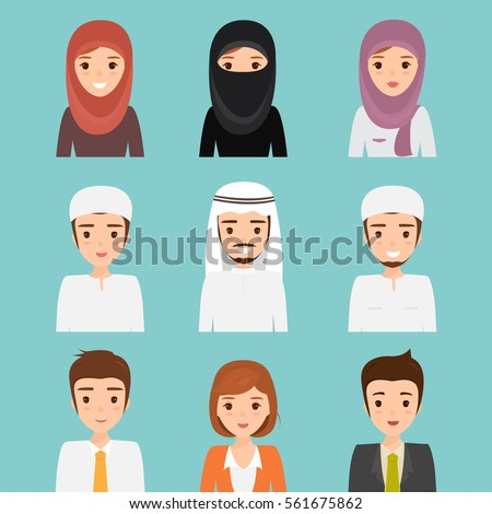 Set of woman and man muslim character.arab traditional hijab collection.