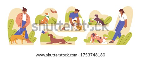 Set of woman and man teaching domestic animal vector flat illustration. Collection of caring owners and pets playing together, performing command isolated on white. Concept of dog training school