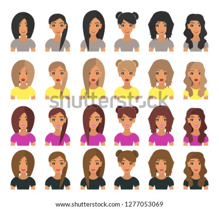 set of woman avatars with