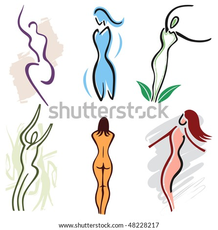 Set of Woman Body Icons - Nature, Sports and Fitness.