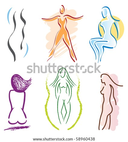 Set of Woman Body Icons - Nature, Sports and Fitness