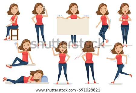 Set of  woman character cartoon, in casual clothes in different poses.Stand, sit, run, walk, sleep, jump, write, talk, phone, waved, Feminine Concept Vector illustration Isolated on White background
