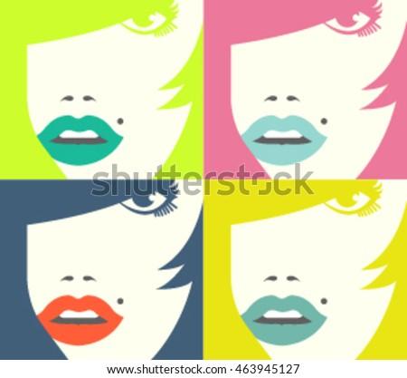 set of woman close up portrait