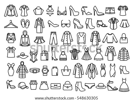 Set of woman clothes icons, thin line style.