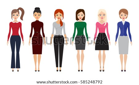 set of woman dresscode flat