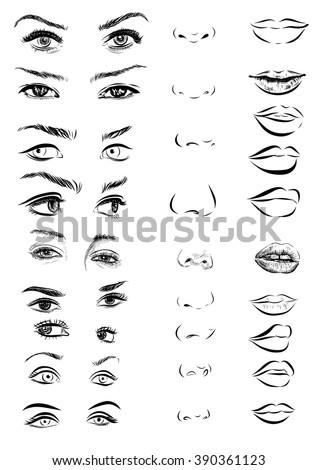 set of woman eyes  lips