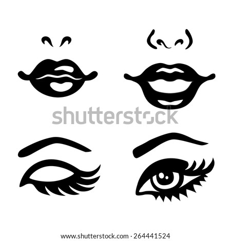 set of woman eyes  lips  noses