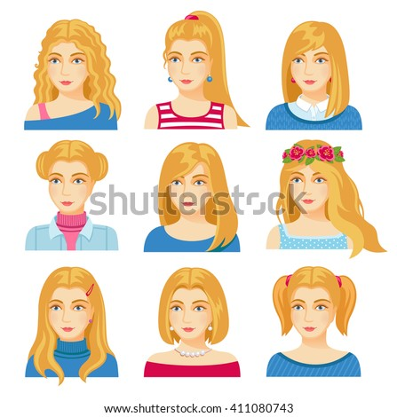 set of woman faces with various