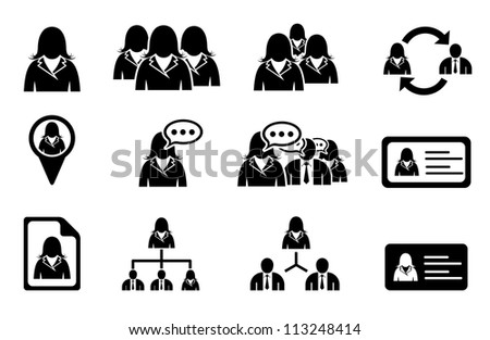 Set of woman management icons