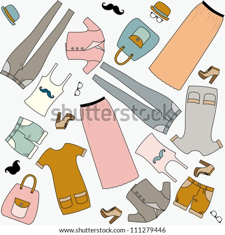 Set of woman`s clothes in last fashion. Seamless vector